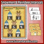 Students review intervals of seconds to octaves in the Snowmen and Reindeer Interval Game