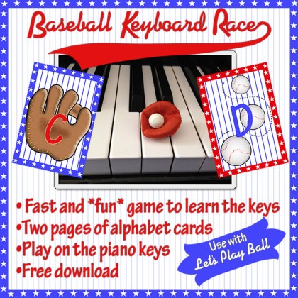 Baseball Keyboard Race - Susan Paradis Piano Teaching Resources