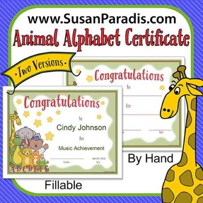 Animal Alphabet Certificate2
