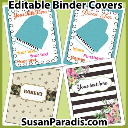 binder cover bundle susan paradis piano teaching resources
