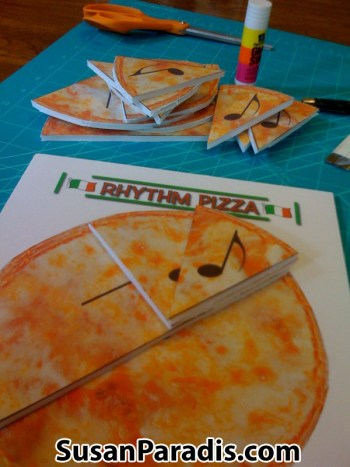 Cut a picture of pizza into halves, quarters, and eighths to show rhythm values.