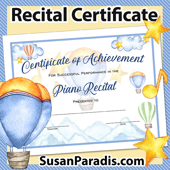 Certificate for Recital Performance
