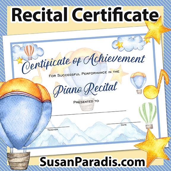 Certificate for Recital Performance