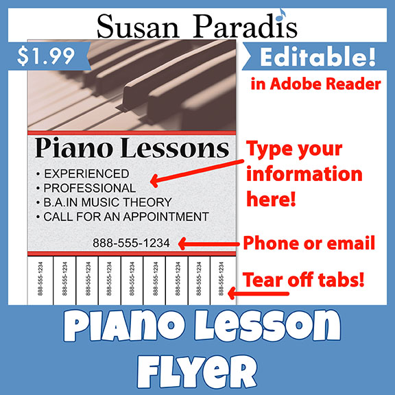 piano lesson tear off flyer susan paradis piano teaching resources