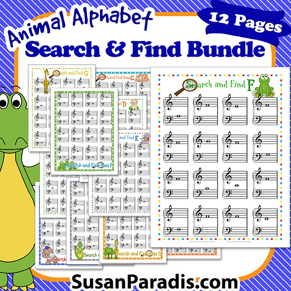 This 12-page set is a game or worksheets for students to find the 12 notes around middle C.