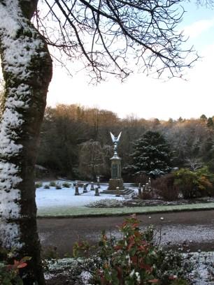 Angel in Bold Venture Park in winter