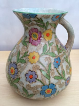 Retro jug with floral pattern