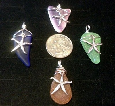 Authentic Sea Glass Jewelry Giveaway! Pendants by Washed Up Creations feature authentic beach glass wrapped in silver wire and accented with a pewter charm. Retail $14