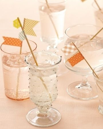 DIY washi tape flags and straws ideas and inspiration
