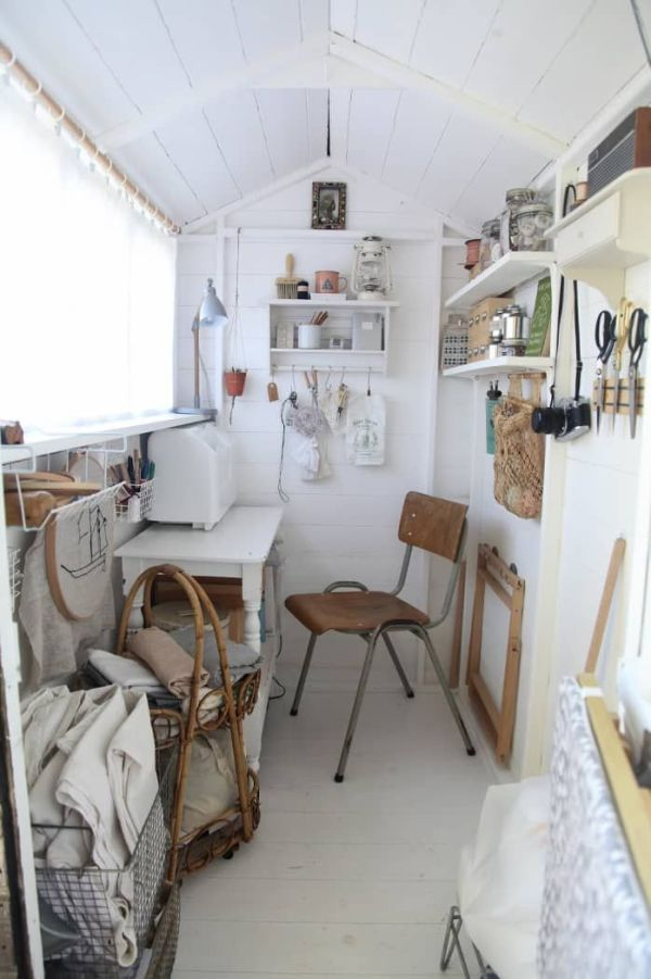 A she shed can double as a home office or crafting space