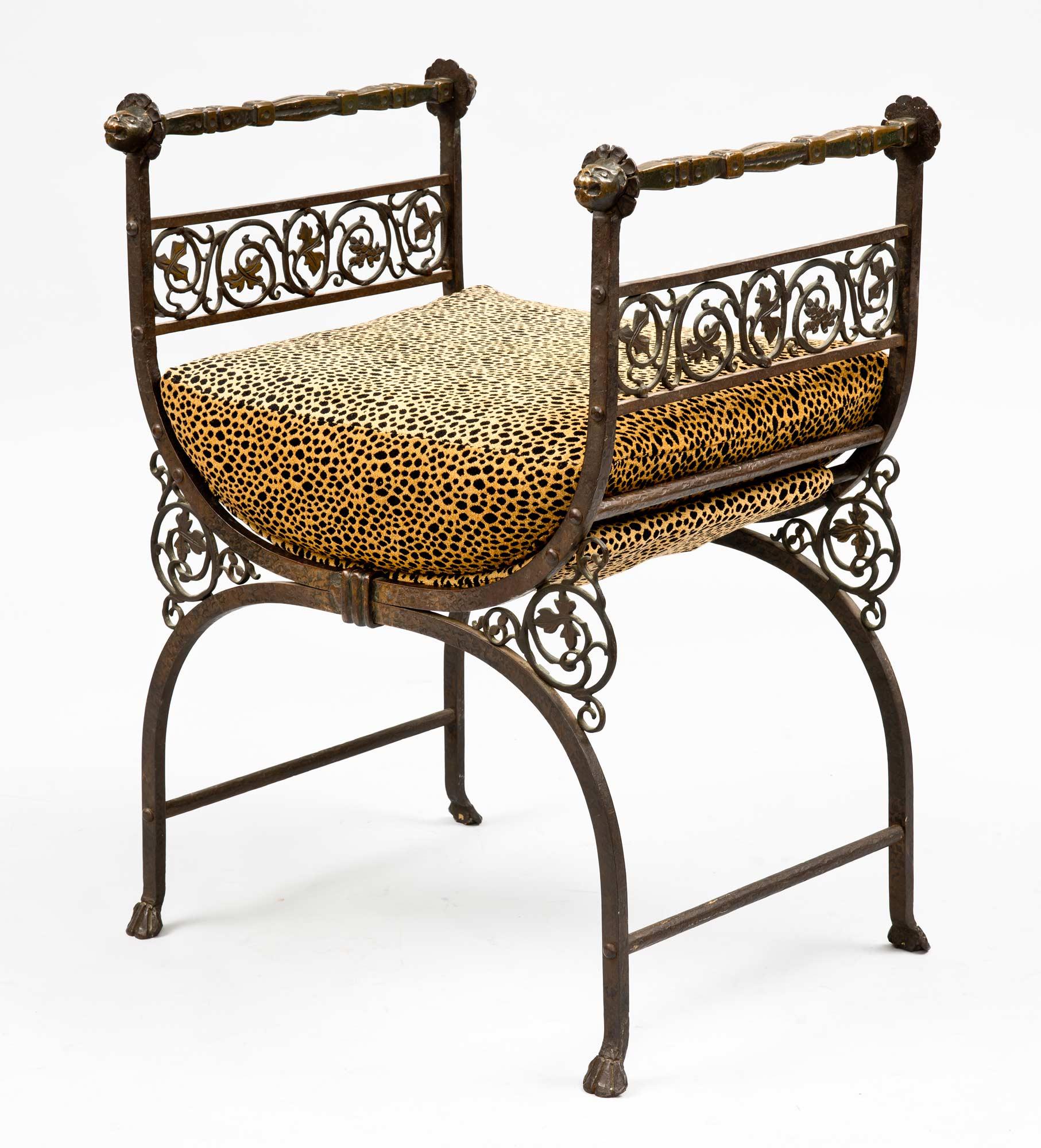 Savonarola Bronze Amp Wrought Iron Antique Hall Bench