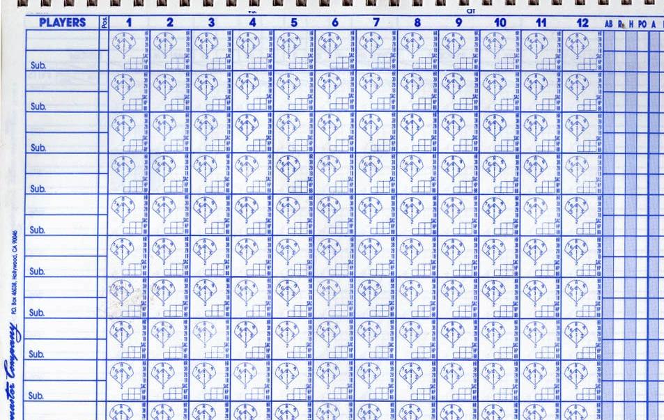 10 baseball scorecard templates free sample example format – Baseball Score Sheet Template