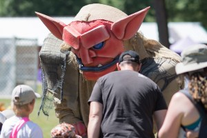 Costumed monster at a Renaissance Festival/Fair.