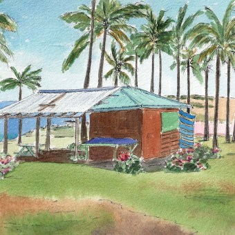 Beach Cabana at Anakena by Susan Sternau from Easter Island Sketchbook