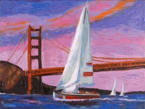 Sailboats with Golden Gate oil by Susan Sternau