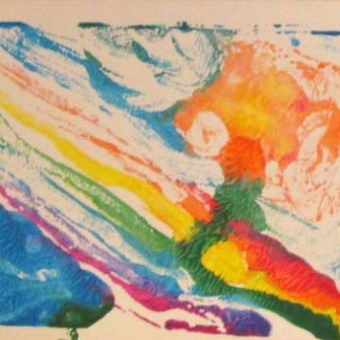 Student rainbow & flower mono-prints