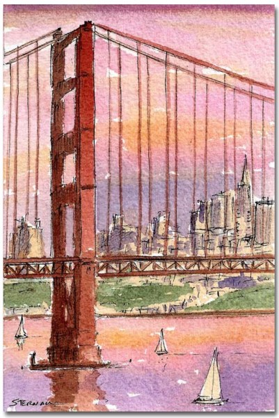 Sunset Bridge with San Francisco by Susan Sternau