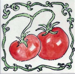 Two Tomatoes Tile by Susan Sternau