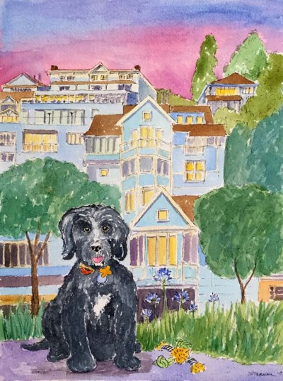 Dog Portrait with Casa Madrona Hotel Commission by Susan Sternau