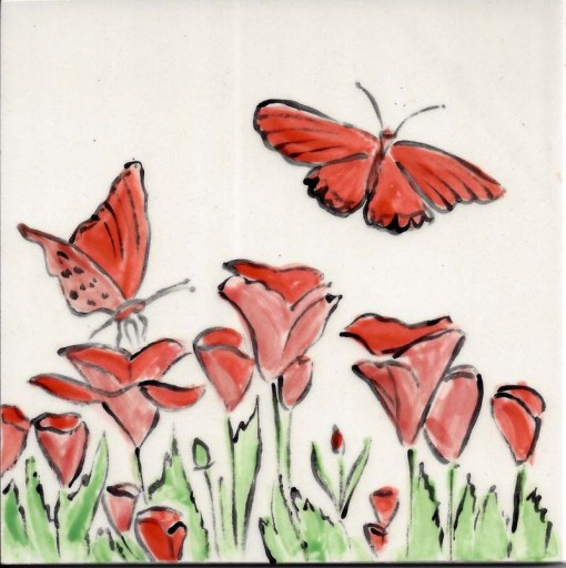 Butterflies and Poppies, 6x6 tile, by Susan Sternau