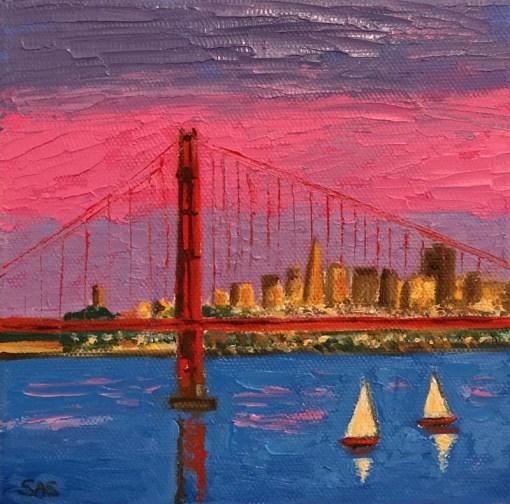 Pink City 1 Mini Oil by Susan Sternau