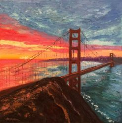 Sunrise Bridge with Rock 2 Oil Painting by Susan Sternau