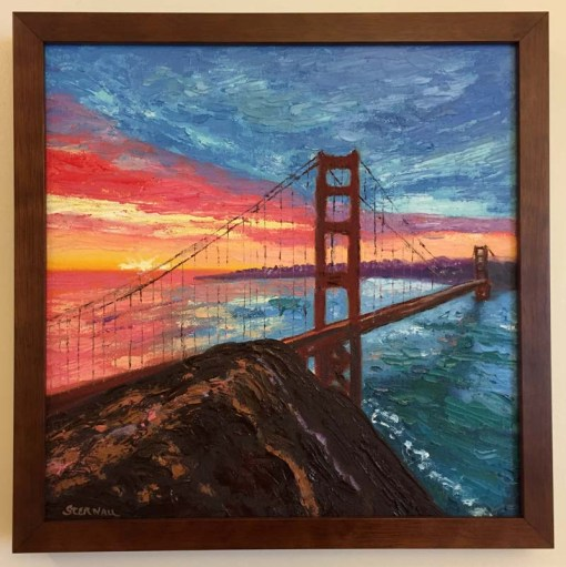 Sunrise Bridge with Rock 2 Oil Painting framed, by Susan Sternau