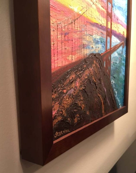 Sunrise Bridge with Rock 2 Oil Painting framed, partial side view, by Susan Sternau