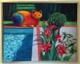 Tropical Cat 1 Oil Painting framed by Susan Sternau