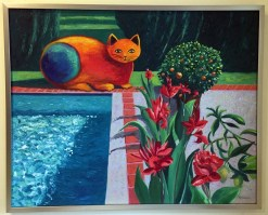 Tropical Cat 1 Oil Painting framed by Susan Sternau