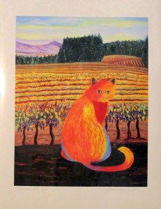 Wine Country Cat 2 print, by Susan Sternau, giclee print front