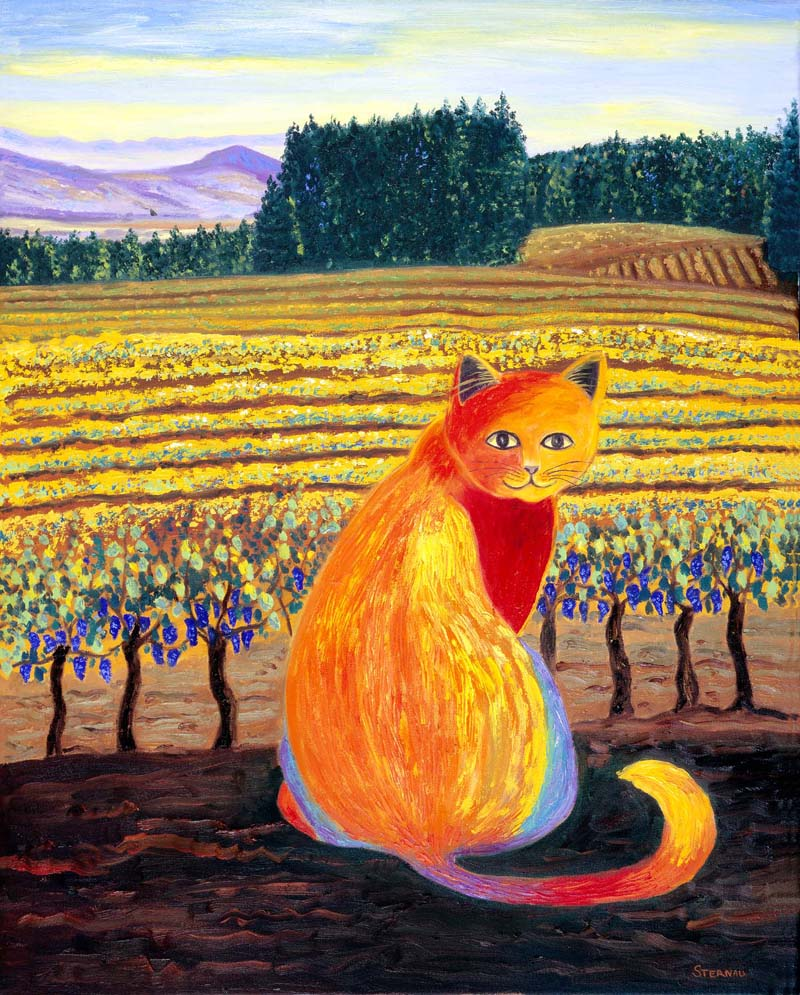 Wine Country Cat 2 print by Susan Sternau, holiday art show