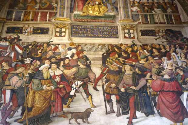 image of Portion of large painting in the cathedral in Siena