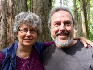 Susan Windle and Ron Karavitz by the Cedar Trees. Photo by Karen Brunin.