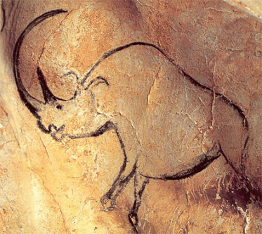 Image Credit: Wikimedia Commons. Rhinoceros from the Chauvet Cave in Southern France. These cave paintings have been dated to be between 30-35,000 years old.