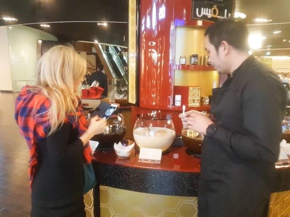 Susete Estrela buying white honey - The Dubai Mall