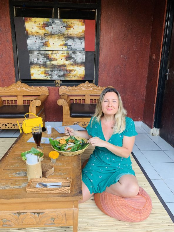 Having lunch in a Balinese compound house