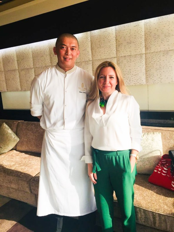 Susete Estrela with Chef Harris Leong at Burj Al Arab, the most luxurious hotel in the world