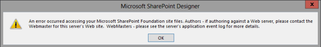 SharePoint Designer Error