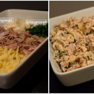Uramaki z sałatką z żółtego sera i tuńczyka