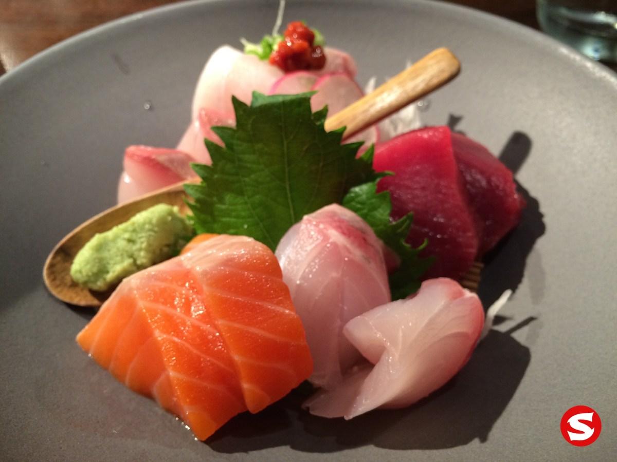 sake (king salmon), maguro (big eye tuna), suzuki (sea bass), hirame (halibut) sashimi