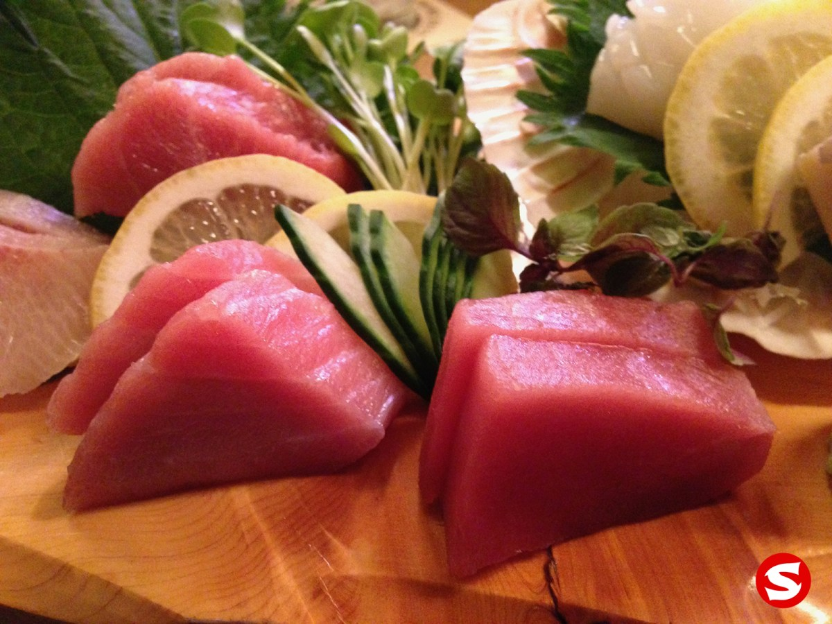 o toro (bluefin fatty tuna belly), chu toro (bluefin medium fatty tuna belly), maguro (bluefin tuna back) sashimi