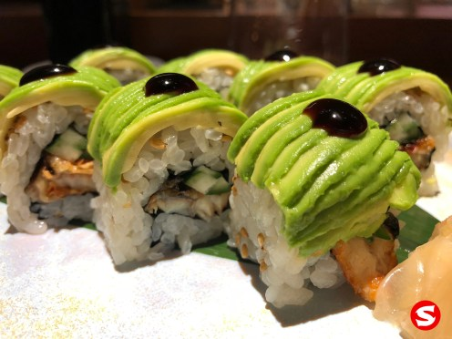 dragon roll with ebi (shrimp), unagi (freshwater eel)