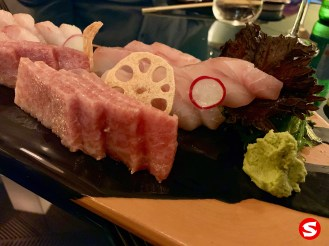 o toro (fatty tuna belly) and tai (sea bream) sashimi