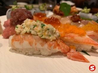 ebi (shrimp) nigiri with ika (squid) and tobiko (flying fish roe)
