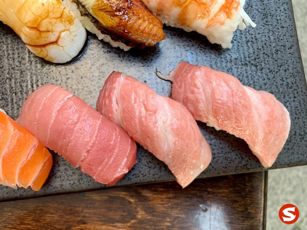 otoro (fatty tuna belly) and chu toro (medium fatty tuna belly) nigiri