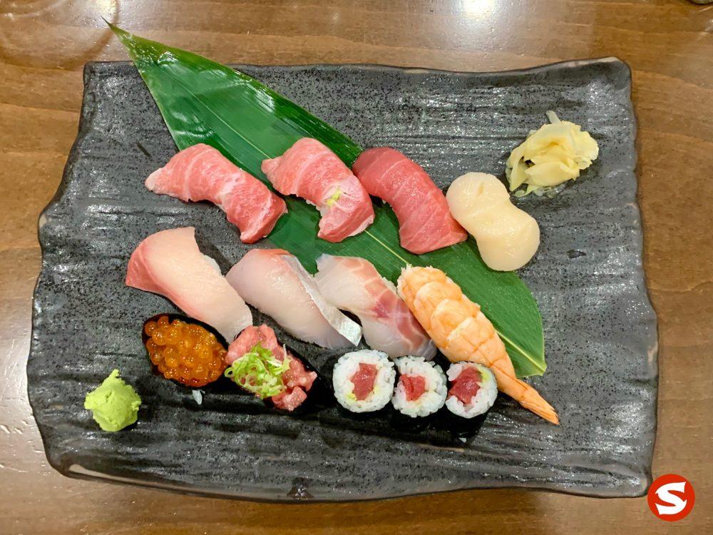 chu toro (medium fatty tuna belly), otoro (fatty tuna belly), hotategai (scallop), hamachi (yellowtail), saba (mackerel), suzuki (sea bass), ebi (shrimp) nigiri, ikura (salmon roe) and maguro (tuna back) tartare gunkan (battleship sushi) and maguro (tuna back) maki (roll)