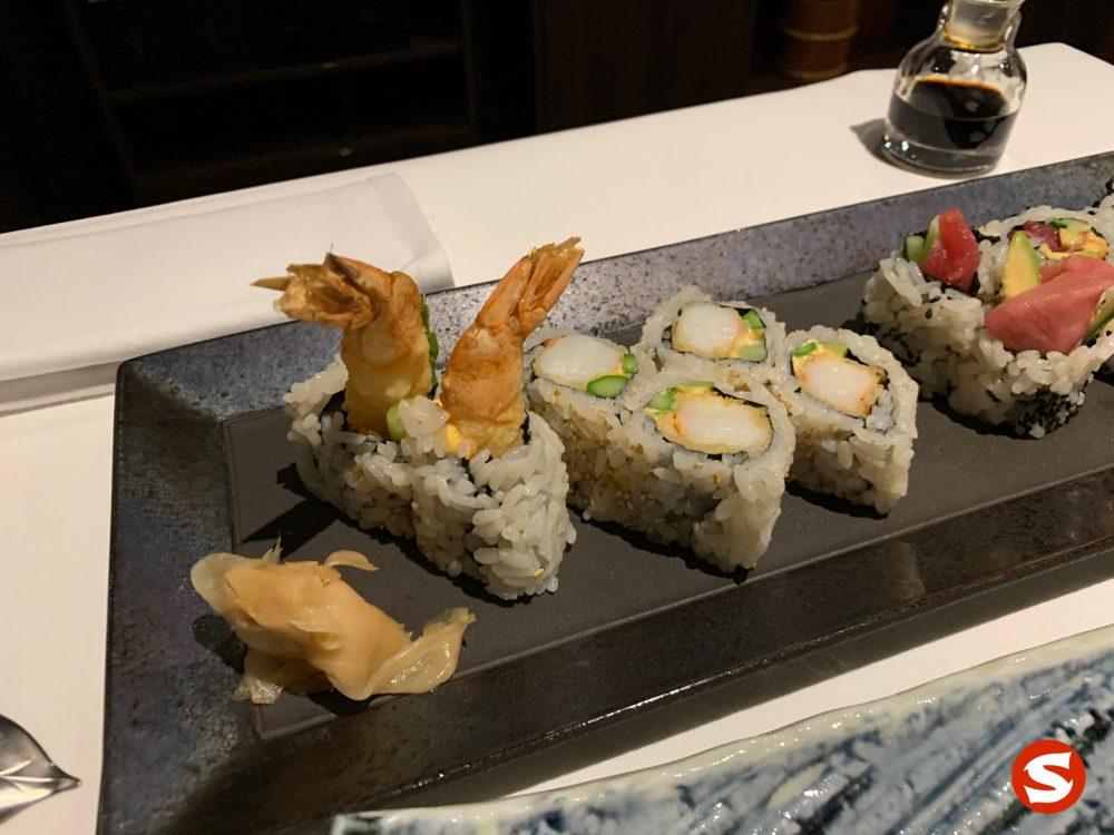ebi tempura (fried shrimp) uramaki (inside out roll)