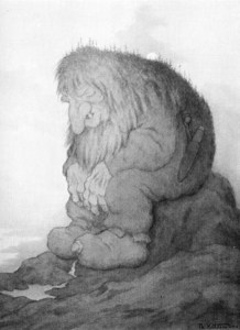 The Internet trolls were out to get me, but I got away. Troll painting by Theodor Kittelsen via Google Image Search