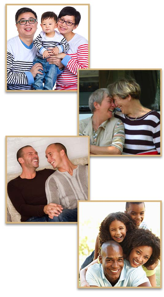 Happy families and couples